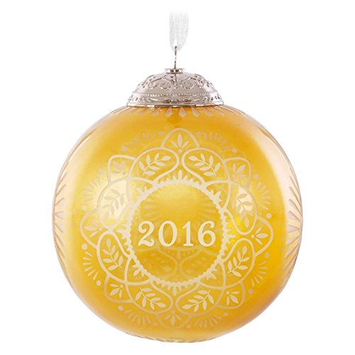 Hallmark Keepsake 2016 Christmas Commemorative Gold Glass Ball Ornament