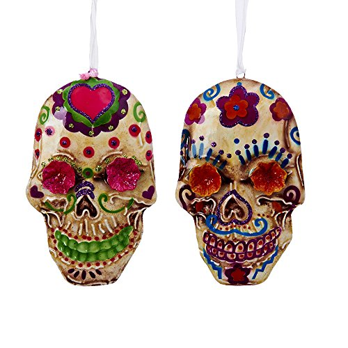 Kurt Adler Set of Two 5″ Tin Day of the Dead Ornaments