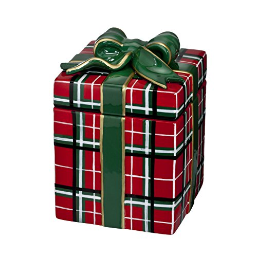2015 Waterford Holiday Heirlooms Ceramic Candy Jar Plaid Christmas Present