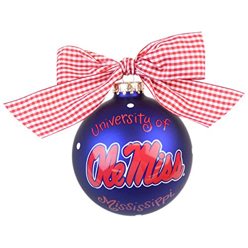 Coton Colors Ole Miss Logo Glass Ornament
