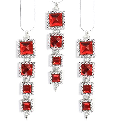 Holiday Lane Silver with Red Acrylic Gems Dangle Christmas Ornaments (Set of 3)
