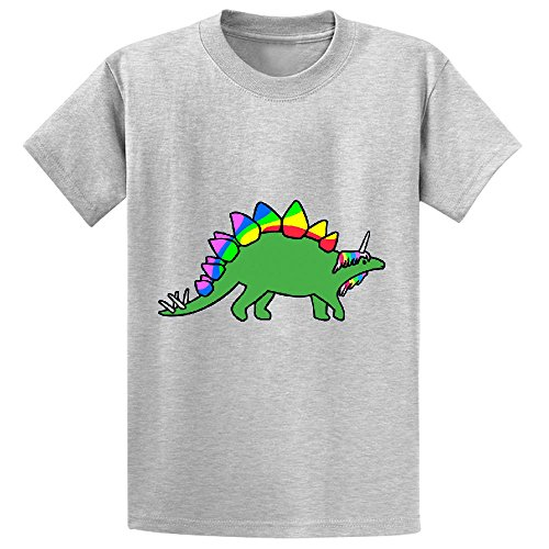 Unicorn Stegocorn Unicorn Stegosaurus Kid's Customized Crew Neck Shirts Grey