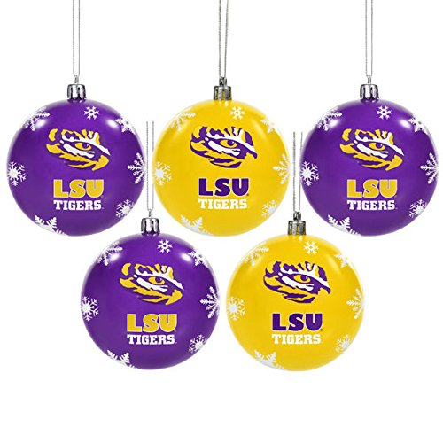 NCAA Forever Collectibles: 5 Pack Shatterproof Ball Ornament Set, LSU Tigers, One Size