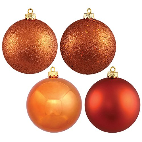 Vickerman 4-Finish Assorted Plastic Ornament Set & Seamless Shatterproof Christmas Ball Ornaments, Assorted 4 per Box, 4.75″, Burnish Orange
