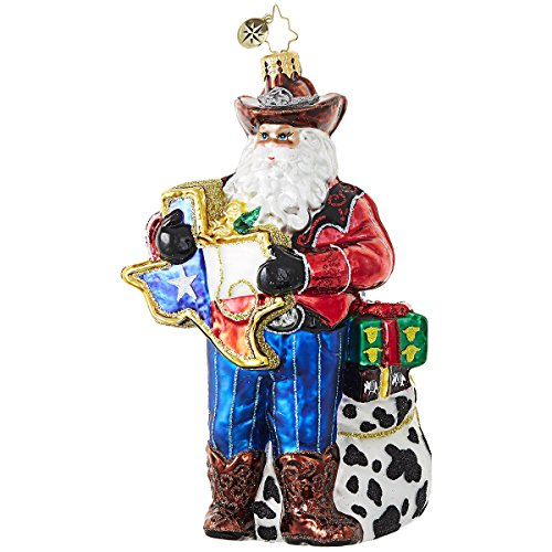 Christopher Radko Everything's Bigger in Texas Santa – State of Texas Themed Glass Ornament