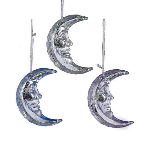 Kurt Adler 3.5″ Acrylic Purple, Blue & Silver Moon Ornaments 3/asstd