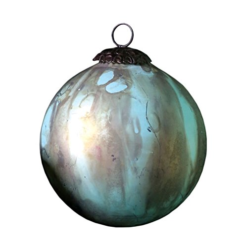 Creative Co-Op 6″Round Glass Marble Design Ornament, Copper