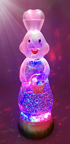 Bunny Rabbit Swirl Dome Snowglobe With Color Changing LED Light Up Glitter Liquid Ornament Easter Decoration. Home Decor Rabbit Bunny With Eggs in The Basket – 11″ High, Cute Design E5201