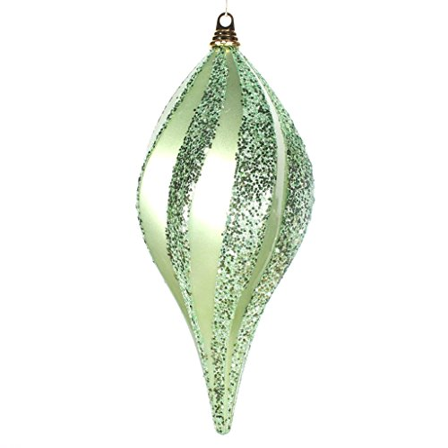 Vickerman 33649 – 8″ Celadon Green Candy Glitter Swirl Drop Christmas Tree Ornament (M132554)