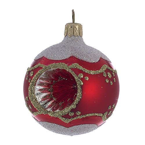 Kurt Adler 63MM Red, White and Gold Glitter Reflector Ornament Set of 4