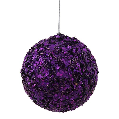 Vickerman 34100 – 3.5″ Purple Sparkle Sequin Kissing Ball Christmas Tree Ornament (P132106)