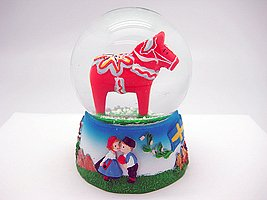 Dalarna Horse Unique Snow Globe (3.5″) Red
