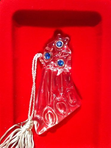 LENOX CRYSTAL, 2000 COMMEMORATIVE FIRE WORK ORNAMENT W/ BLUE STONES