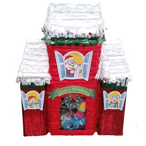 Santa's Workshop Pinata Christmas Decoration, Party Game and Photo Prop