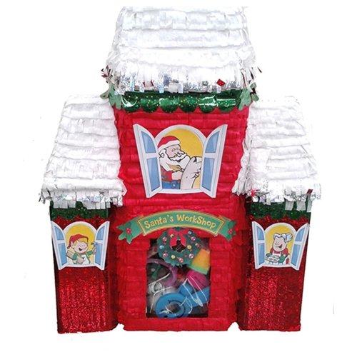 Santa's Workshop Pinata Christmas Decoration, Party Game and Photo Prop