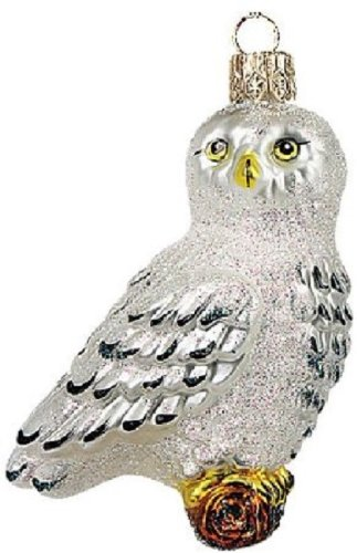 Wildlife Arctic Owl Polish Glass Christmas Ornament Made in Poland Decoration