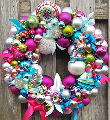 24″ Tropical Florida Vacation Theme Holiday Glass Ornament Wreath