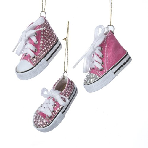 Kurt Adler 3″ Pink Sneaker With Clear Stones Ornament