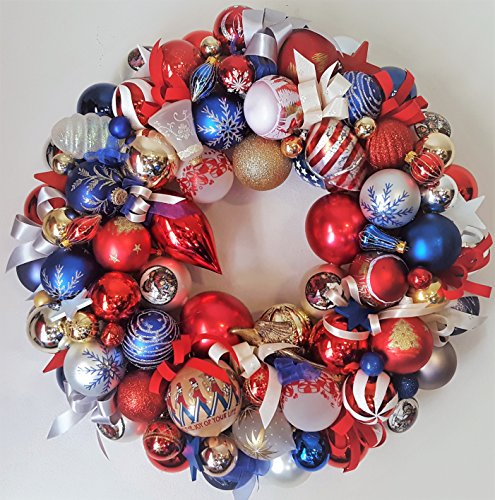 22″ Patriotic Americana Glass Ornament Holiday Wreath; Memorial Day; 4th of July