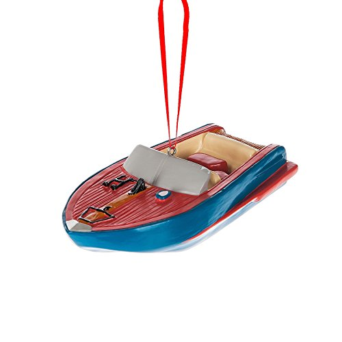 Speed Boat Resin Stone Christmas Ornament Figurine
