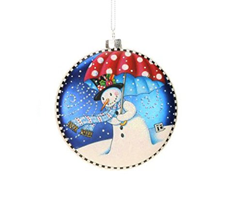 4″ Mary Engelbreit Let It Snow Snowman Couple Christmas Disc Ornament