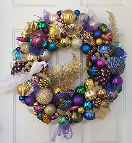 24″ Glass Peacock Christmas Ornament Wreath Vintage & Modern Mix; Hand Crafted Elegant Wreath