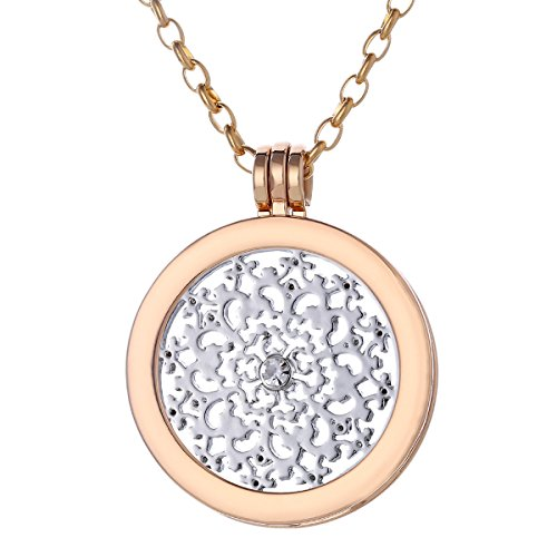 Morella Women Necklace 27.5″ golden Stainless Steel with Amulet and Coin 1.3″ Nature Ornament Silver in Velvet Bag