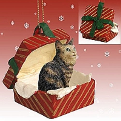 Conversation Concepts Brown Maine Coon Cat Gift Box Red Ornament
