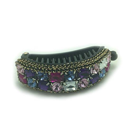 Meilliwish Noble Colorful Gem Women Girls Hair Clip(XA12)(Purple)