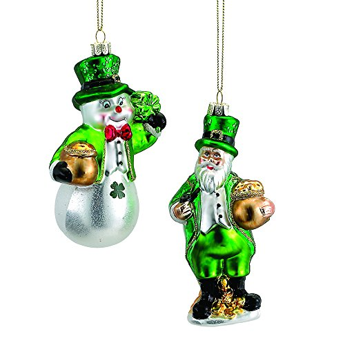 Kurt Adler Set of Two Glass Irish Ornaments – Snowman and Santa Claus
