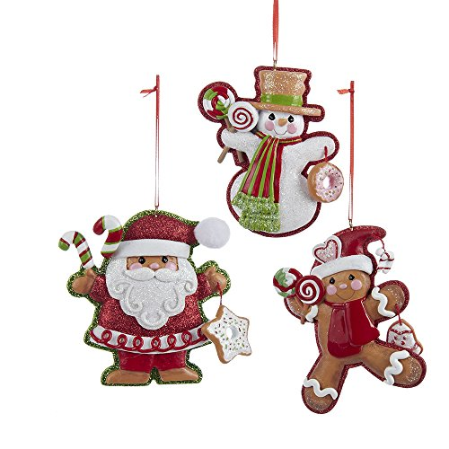 Kurt Adler 3.75″-4″Resin Gingerbread Ornaments, Set of 3