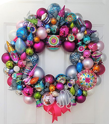 24″ Retro Explosion Holiday Glass Ornament Wreath Featuring Christopher Radko Shiny Brite
