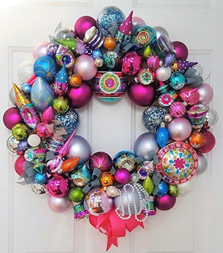 24″ Retro Explosion Holiday Glass Ornament Wreath Featuring Christopher Radko Shiny Brite