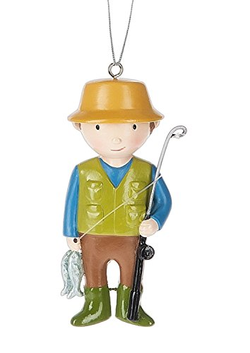 Fisherman With Fresh Catch Christmas Holiday Ornament 3.25 Inches