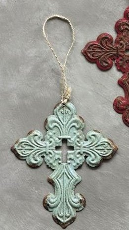 Creative Co-op Rustic Southern Blue Iron Filigree Holy Cross Hanging Christmas Tree Ornament …