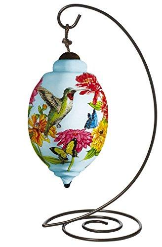 "Ne'Qwa Petite Trillion-Shaped Glass Ornament With Classic Hanging Stand, ""Hummingbird"" Artist Sandy Clough, #7161181"