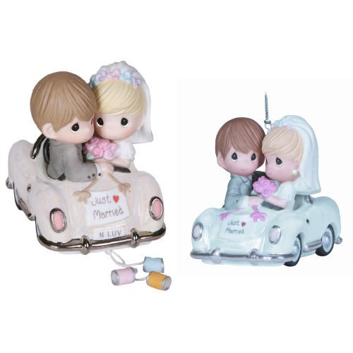 Precious Moments, Wedding Gifts, Just Married Bisque Porcelain Figurine and Ornament