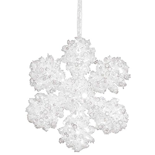 Vickerman 342862 – 6″ White Glitter Snowflake Christmas Tree Ornament (M147101)