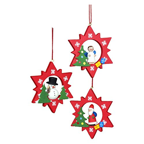 "10-0895 – Christian Ulbricht Ornament – Assorted Red Stars with Santa/Snowman/Angel- set 6 – 3″""H x 2.5″""W x .75″""D"