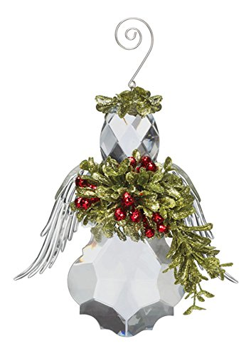 Kissing Krystal Ball Ornament Mistletoe Angel Christmas Ornament- 6 Inches