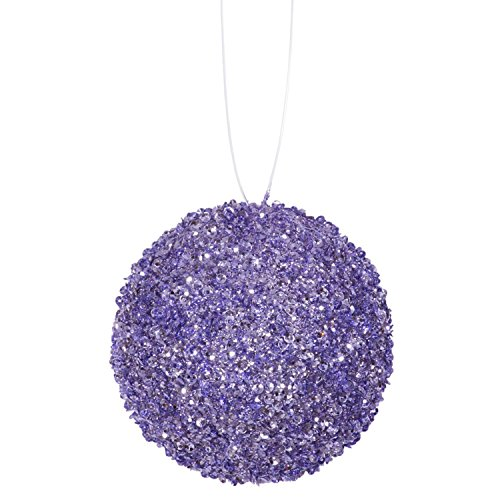 6ct Lavender Purple Sequin and Glitter Drenched Christmas Ball Ornaments 3″ (80mm)