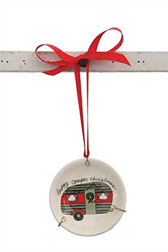 Happy Camper Christmas Plate Ceramic Hanging Tree Ornament