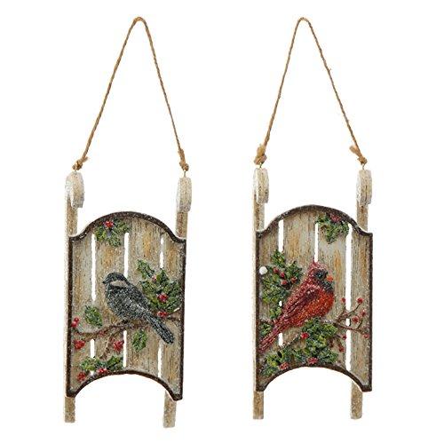 Raz Bird Sled Ornament (Set of Two)