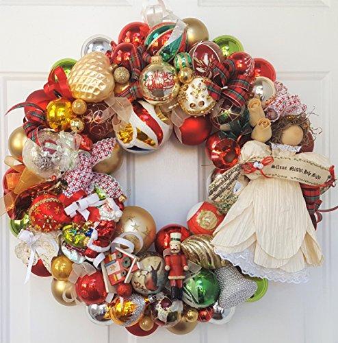 22″ Vintage Silent Night Glass Christmas Ornament Wreath With Cornhusk Angel Tree Topper, Reflector Ornament, Santa, Cardinal