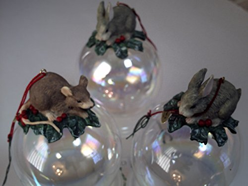 Charming Tails Mice & Rabbit Ball Ornaments