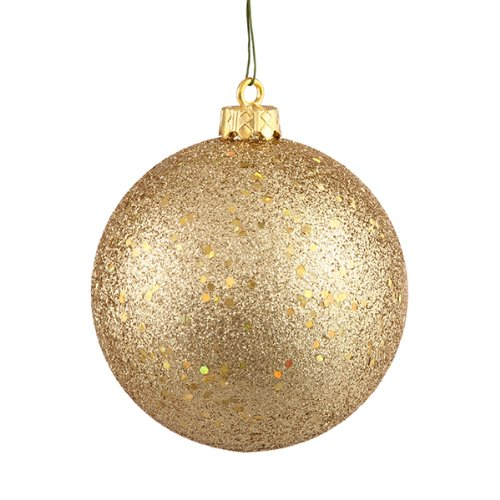 Vickerman Vegas Gold Holographic Glitter Shatterproof Christmas Ball Ornament, 4″