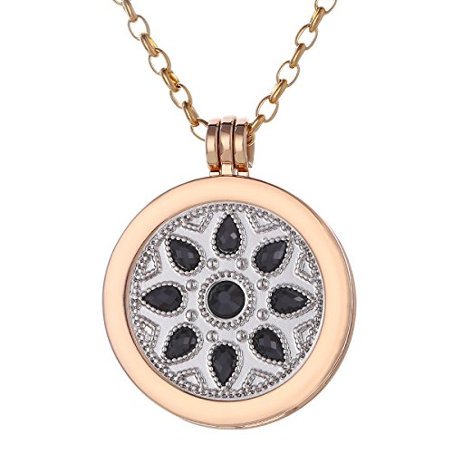 Morella Women Necklace 27.5″ golden Stainless Steel with Amulet and Coin 1.3″ Flower Ornament Silver Black in Velvet Bag