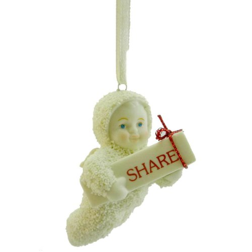 Dept 56 Snowbabies SHARE Porcelain/Ribbon Ornament Christmas Angel 795971