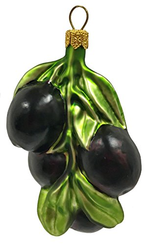 Cluster of Black Olives Polish Glass Christmas Tree Ornament Fruit Food Olive