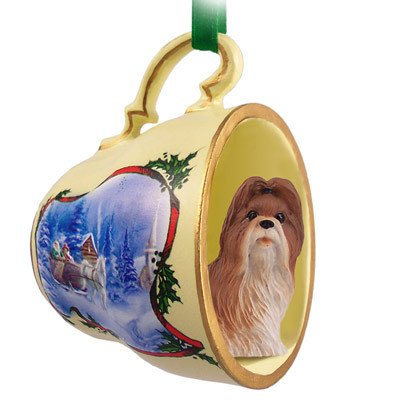 Conversation Concepts Shih Tzu Tan Tea Cup Sleigh Ride Holiday Ornament